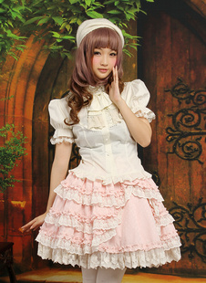 Trajes de algodón y de encajes de bicolor de manga corta de estilo dulce
