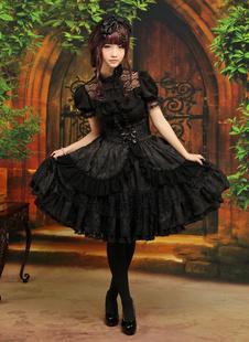 Classic Lolita noir élégant OP robe manches courtes couches volants dentelle Trim Déguisements Halloween