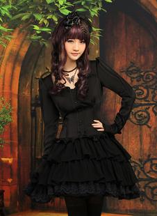 Traje negro de lolita de manga larga de estilo clásico