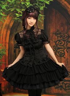 Vestido de gasa negro de manga corta de estilo gótico