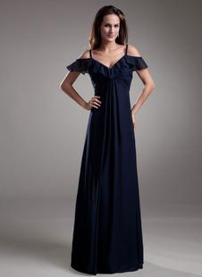 Очаровательный темно флота шифона шифон длиной до пола вечернее платье с каскадом