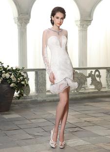 Короткие оболочка Jewel шеи оборками кружева свадебное платье невесты цвета слоновой кости  Milanoo