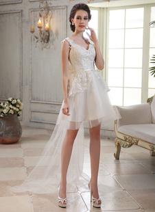Шикарный слоновой кости, кружева v-образным вырезом без рукавов Тюль-Line свадебное платье  Milanoo