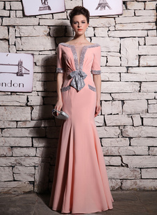 Изысканная русалка  вечернее платье  блестками Голубокий V-обрезным вырезом с бантом Milanoo
