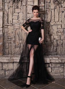 Черное вечернее платье онлайн тюль фронт раскол половина рукава иллюзия вырезом юбки Milanoo