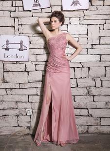 Элегантное вечернее платье розовый вышитые одно плечо без рукавов оболочки Milanoo