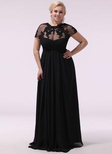 Vestidos de noiva pretos Vestido de noite com tamanho Chiffon Lace Applique Ilusão Manga curta Vestido de convidado de casamento de comprimento do assoalho Milanoo