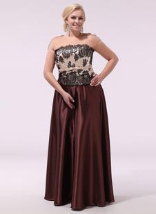 Vestidos de baile de tamanho grande Vestido formal longo sem alças Vestido de noiva com vestido de cetim escuro e liso Milanoo