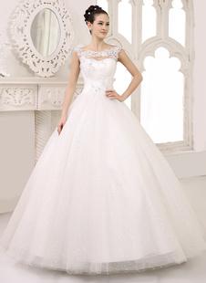 Brautkleider Prinzessin Prom- Brautkleider ärmellos Hochzeit mit Bateau-Kragen Brautkleider große Größen Elfenbeinfarbe       Tüll bodenlang