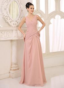 Румяна Розовое платье для подружки невесты Шифон Ruched длинное платье выпускного вечера V шеи без рукавов Платье длиной до пола Свадебное платье