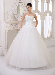 Brautkleider Prinzessin Prom- Brautkleider ärmellos Hochzeit Herz-Ausschnitt Brautkleider große Größen Elfenbeinfarbe       Tüll bodenlang