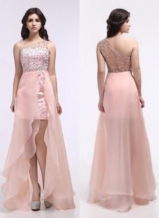 Розовый одно плечо асимметричного стразами платье с Очаровательная платье из органзы