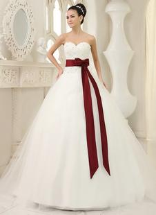 Brautkleider Prinzessin Prom- Brautkleider Herz-Ausschnitt Hochzeit Elfenbeinfarbe       Brautkleider große Größen Tüll mit Kapelle-Schleppe