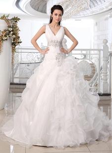 Abiti da sposa Principessa Abito da ballo Abito da sposa a scollo V volant di organza bordatura a più livelli Plissettato Corte abito da sposa