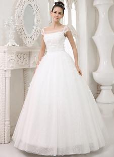 Brautkleider Prinzessin Elfenbeinfarbe       viereckiger Ausschnitt Brautkleider Tüll bodenlang Kurzarm mit Reißverschluss A-Linie-