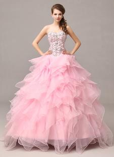 Rosa Abendkleid gestufte trägerlos Strass Organza Rüschen Kleid