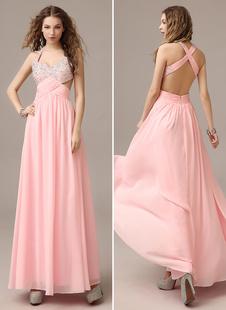 Ballkleider A-Linie- Ball kleider Hellrosa  Hochzeit Chiffon Abschlusskleider ärmellos Formelle Kleider mit Halter natürliche Taillenlinie bodenlang