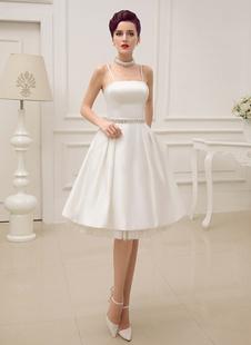 Винтаж бретельках спинки Атлас коротких свадебное платье с жемчугом на талии Milanoo