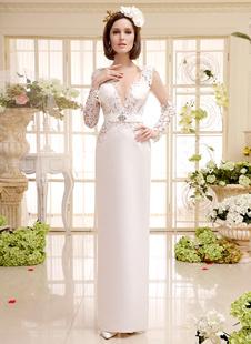 Слоновой кости старинные v-образным вырезом-Сплит кружева свадебное платье с бантом Milanoo