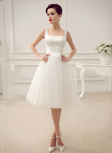 Simple Wedding Dresses Satin Square Neck Applique Short Bridal Dress with Beading Bow Sash Milanoo