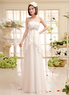 Corte treno avorio Wedding Bridal Gown con Chiffon senza spalline Peplum  Milanoo