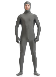 Morph Suit Grey Zentai Suit Lycra Spandex Bodysuit with Face Opened