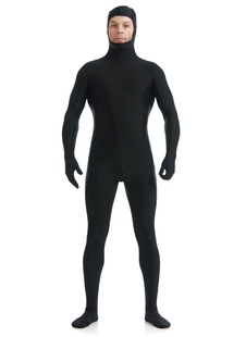Morph Suit Black Zentai Suit Lycra Spandex Bodysuit with Face Opened