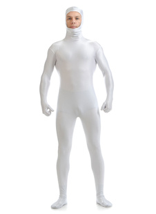 White Adults Zentai Suit Lycra Spandex Bodysuit with Face Opened