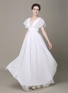 Погружаясь шифон пляж свадебное платье цвета слоновой кости шифона плиссированной пояса короткими рукавами свадебное платье с Церемониальный шлейф Milanoo