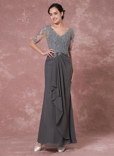 Brautmutterkleider Etui- Abendkleider für Hochzeit Chiffon Abendkleider Grau  Hochzeit 1/2 Ärmel V-Ausschnitt bodenlang mit Reißverschluss und Falten