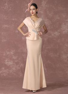 Abendkleider V-Ausschnitt Hochzeit Mermaid- Brautmutterkleider Satingewebe Formelle Kleider Kurzarm mit Reißverschluss Champagner       knöchellang