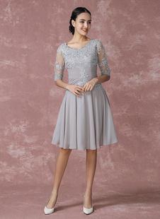 Brautmutterkleider A-Linie- Abendkleider für Hochzeit Chiffon Cocktailkleider Selber Hochzeit 1/2 Ärmel mit Rundkragen knielang und Reißverschluss