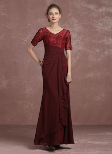 Бургундия вечернее платье кружева плиссированные матери платье V шеи половины рукав пол Длина Русалка платье Milanoo