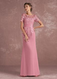 Мать невесты Платье Кружева Аппликация Русалка Вечернее платье Иллюзия Половина рукава Камея Розовые шифон Свадебные платья для гостей с поездом