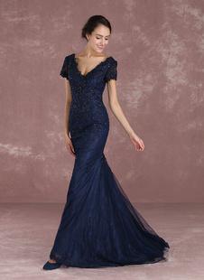 Abendkleider V-Ausschnitt Hochzeit Mermaid- Brautmutterkleider Spitze Formelle Kleider Kurzarm mit Reißverschluss Dunkelmarineblau und Schleppe
