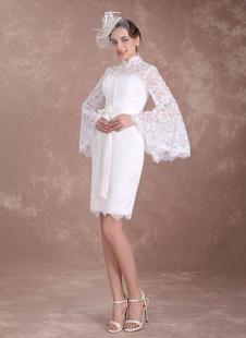 robe de mariée vintage fourreau détail zip en dentelle avec soutien-gorge et doublure manches longues