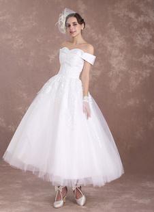 Vestito da Sposa Vintage avorio svasato semplice al polpaccio Chiesa Giardino maniche corte di Lacci