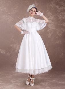 Robe de Mariée Vintage Robe Trapèze A-Line Manches Mi-Longues En Dentelle Tissu de Satin Robe de Mariage 2021