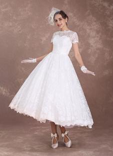 Robe mariée vintage manche courte en dentelle longueur au-dessous de genou doublure en satin boutonné sur dos robe de mariée ivoire
