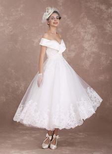 Robe de mariée vintage ivoire en tulle hors de l'épaule longueur cheville Robe de mariage