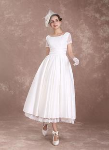 robe de mariée vintage A-ligne à taille naturelle Tissu de satin en dentelle avec doublure et jupon