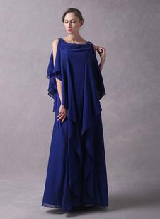 Вечерние платья Арабский королевский синий шифон каскадный Ruffles бисером этаж Длина Свадебное платье