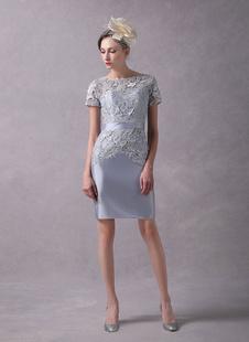 Brautmutterkleider Etui- Abendkleider für Hochzeit Spitze Kleider für Hochzeitsgäste Hellgrau Kurzarm mit Bateau-Kragen Mini-Kleid und Reißverschluss