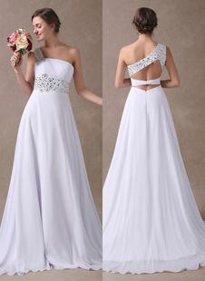 Vestidos de novia blanco Un hombro Beach vestido nupcial gasa rebordear Volver diseño Vestidos de boda de verano con el tren