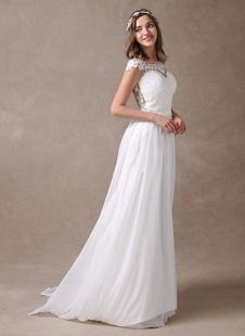 Vestido de novia marfil de chifón con lace de playa vestido de verano con escote dulce de ilusión sin mangas con cola pequeña