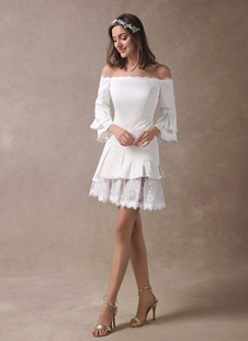 Vestido de novia corto Boho con escote barco mini vestido de playa de verano con manga larga lacesde satén