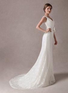 Vestidos de novia de sirena Encaje V Cuello Flor Sash Marfil Vestido de novia con tren