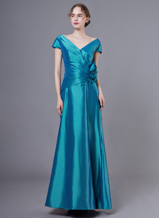 Mamma dello sposo veste il vestito da partito di cerimonia nuziale di lunghezza del pavimento dei fiori del taffettà della manica corta del collo di V