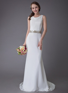 Vestidos De Noiva 2021 Nupciais Do Chiffon Da Faixa Da Bainha Do Marfim Dos Vestidos De Casamento Com Cauda
