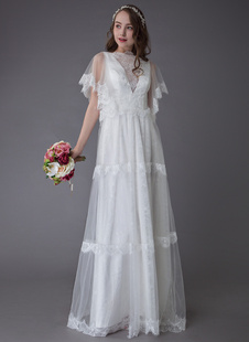 Vestidos De Casamento Boho 2021 Lace Marfim Manga Curta Verão Praia Vestidos De Noiva